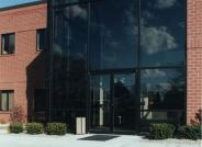 exterior glass entrance of office building